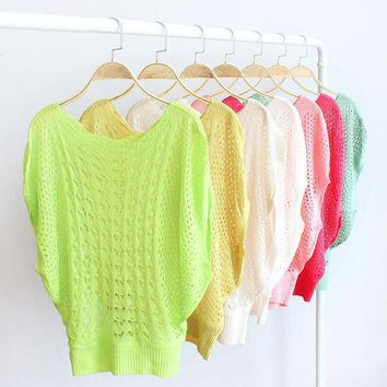 Airy Open Weave Summer Sweater Bright Candy Colors