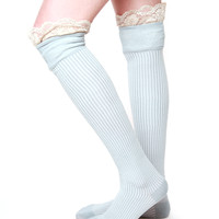 K. Bell Enchanted Lace Over The Knee Socks - Blue