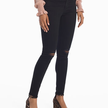 White House Black Market Destructed Black Skinny Ankle Jeans