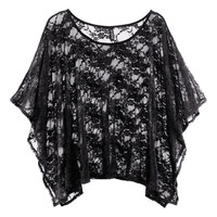 Black Butterfly Sleeve Floral Lace Blouse