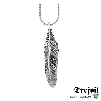 Link Chain Necklace Black Feather, Fashion 925 Sterling Silver Jewelry European Punk Gift For Men Women 2018 Colar Masculino