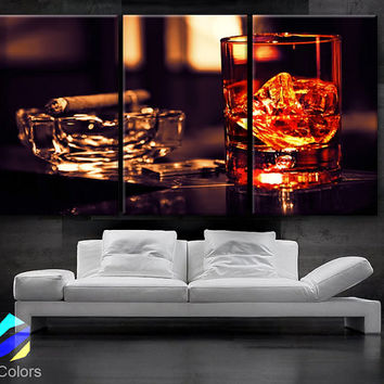 """LARGE 30""""x 60"""" 3 Panels Art Canvas Print Beautiful Glass whisky ice cigar Wall home office decor interior (Included framed 1.5"""" depth)"""