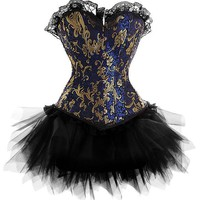 New Dress Costume Burlesque Blue Gold Victorian Brocade Corset &Tutu Skirt Outfit Part Halloween Christmas S-6XL 2018 Steampunk