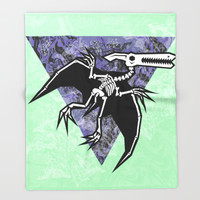 Pterodactyl Fossil Throw Blanket by Chobopop