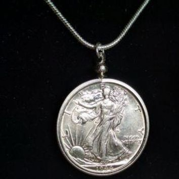 Walking Liberty Coin Necklace - Handcrafted Coin Jewelry