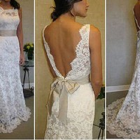 Super elegant French Lace Wedding Dress, modified to your specifications, Alencon or Chentilly Lace, with train, Deep back