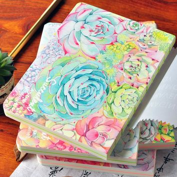 2017 13*18 cm Blank Plain Notepad Notebook Diary Fleshiness Plant Printing Note Book Agenda Journal Planner Stationery