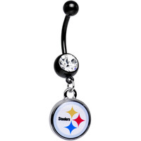 Licensed Clear Gem Black Pittsburgh Steelers Dangle Belly Ring | Body Candy Body Jewelry