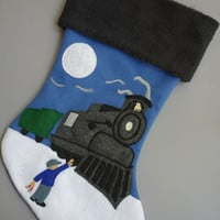"Train Christmas Stocking ""North Pole Express"""
