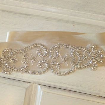 Wedding Sash, BROOKE, Bridal Sash, Crystal Sash, Rhinestone Sash, Bridal Belt, Bridesmaid Sash