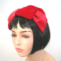 Womans Red Half Hat, Velvet & Satin, Vintage 1960s Cocktail Headband Style, One Size Fits All, Retro Hat Glamor