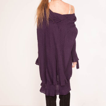 CROCHET sweater oversize KNIT pullover Wool purple off shoulder sweater purple Tunic Handmade Crochet oversize Tunic purple Crocheted Dress