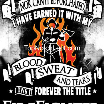 """""""Forever the Title Firefighter"""" Vinyl Decal Sticker (5"""" tall)"""