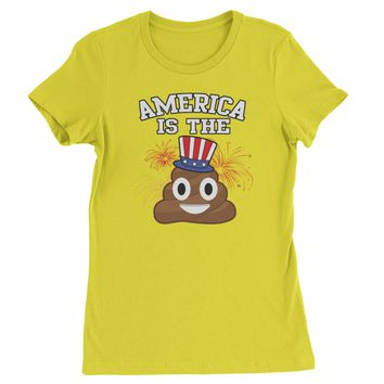 America Is The Poop Emoticon Womens T-shirt