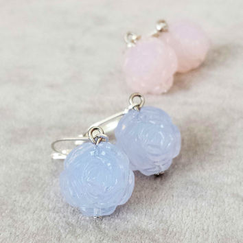 Bridesmaid earrings, Gift for bridesmaids, Delicate Vintage Roses earrings, Rose Quartz Serenity blue jewellery, Bridal jewellery