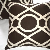 Set of 2, Brown pillow covers, Designer pillow covers, chocolate brown and ivory 18 x 18
