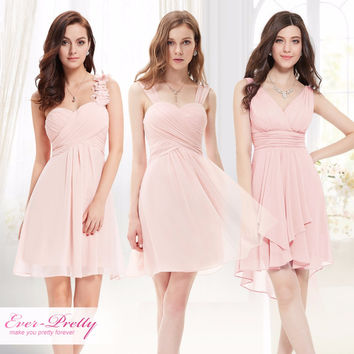 Pink Mini Bridesmaid Dresses Three Kinds One Shoulder  Ever Pretty EP03535PK Wedding Guest Dress for Bridesmaid Dress 2017