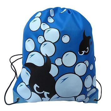 Blue Bubbles and Fish Double Layer Drawstring Waterproof Gym Bag