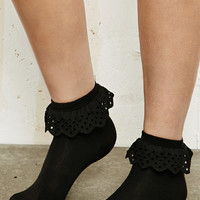 Ruffle Ankle Socks in Black at Urban Outfitters