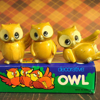 Vintage Kitschy Owl / Owls Set, New Old Stock in Package