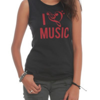 I (Clef Heart) Music Muscle Girls Top