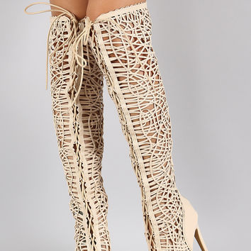 Strappy Woven Lace Up Peep Toe Stiletto Thigh High Boot