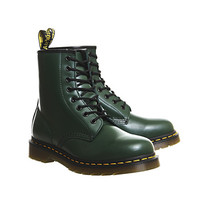 Dr. Martens 8 Eyelet Lace Up Bt Green Leather - Ankle Boots