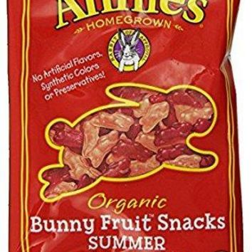 Annie's Organic Bunny Fruit Snacks, Summer Strawberry, 24 Pouches, 0.8 oz Each