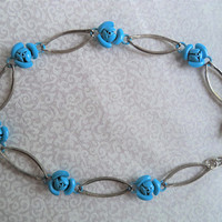 Blue rose anklet/ vintage turquoise and silver tone small anklet/ boho hippie jewelry/ tiny roses anklet