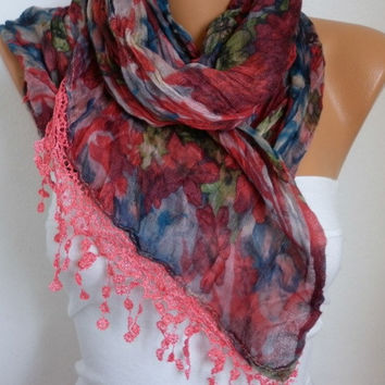 Red Floral Scarf - Cotton Scarf - Shawl - Cowl Scarf with Lace Edge - fatwoman- Spring Flowers - Beach wrap