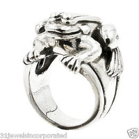 Rare Barry Kieselstein-Cord Frog Ring in 925 Sterling Silver Size 7
