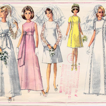 SALE 1960s Misses Wedding Bridesmaid Dress Gown Womens Vintage Sewing Pattern Simplicity 7479 Bust 36""