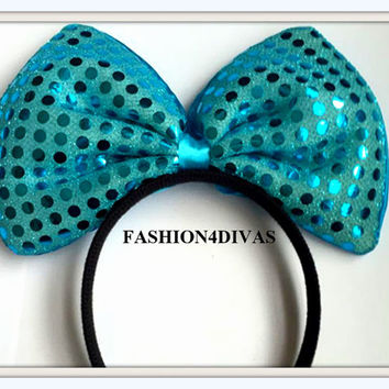 Minnie Mouse Ears Headband Teal Blue Sequin Big Hair Bow Christmas Holiday Special
