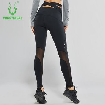 Vansydical Women High Waist Yoga Pants Cross Belt Dance Tights Compression Running Leggings Skinny Fitness Sports Pants