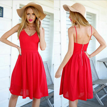 Solid Color Fashion Sleeveless Strap Backless V-Neck Ruffle Dress