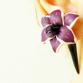 Fake flower gauge, Fake floral piercing, expander for her, fake plug lily, polymer clay