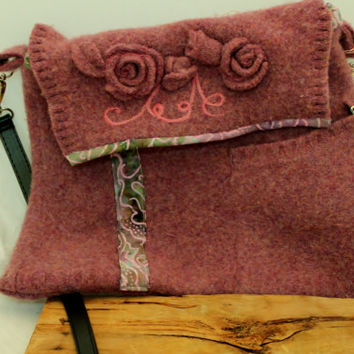 Purse, Wet Felted & Needle Felted Mauve Flowers ART  Purse