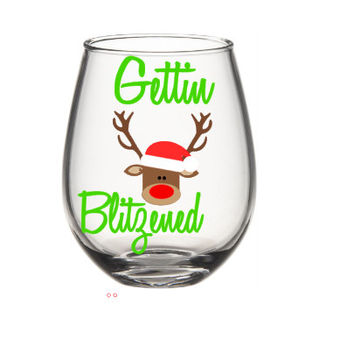 Gettin Blitzened Christmas Wine Glass, Christmas Wine Glasses, Santa Wine Glass, Holiday Wine Glass, Holiday Gifts