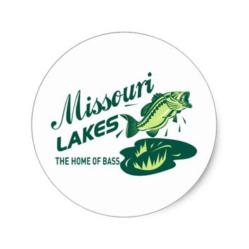 largemouth bass missouri lakes classic round sticker