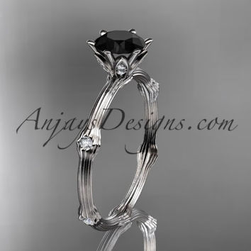 platinum diamond vine and leaf wedding ring, engagement ring with Black Diamond center stone ADLR38