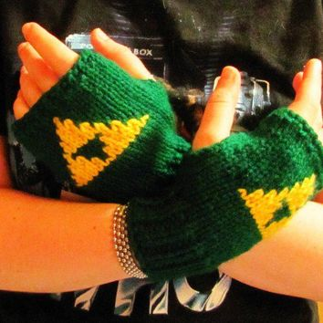Triforce Legend of Zelda knit fingerless gloves fan art ready to ship