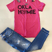 OKLAHOMIE-Berry (Pink) Crew Neck women's t-shirt