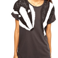 Adorable Animal Inspired Badger Scarf Print Graphic Tee T-Shirt for Women
