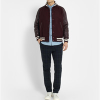 Beams Plus - Leather and Wool-Blend Bomber Jacket | MR PORTER