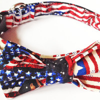 Flag Patriotic Collar with Matching Bow Tie for Male Dogs and Cats