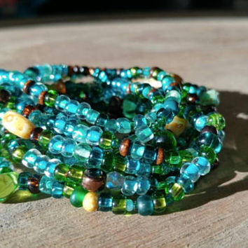 Free Shipping - Long Seed Bead Wrap Bracelet or Necklace - Boho Layer Bracelet - Earthy Wrap Bracelet - Aqua Terra Jewelry on Stretch Cord
