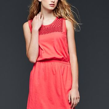 Gap Women Embroidered Fit & Flare Dress