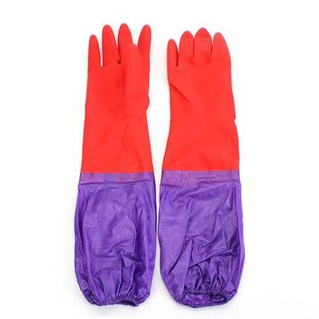 Safurance Kitchen Wash Cleaning Rubber Latex Cashmere Gloves Waterproof Long Sleeves Workplace Safety