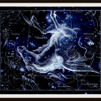 Pegasus Constellation, Astronomy Print, Constellation Art