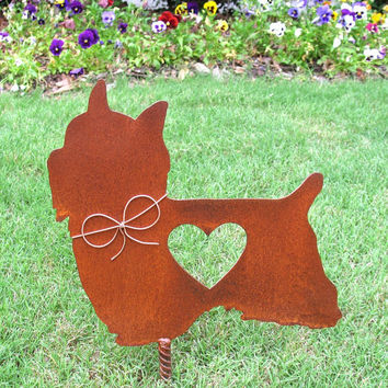 Silky Terrier Dog Metal Garden Stake - Metal Yard Art - Metal Garden Art - Pet Memorial